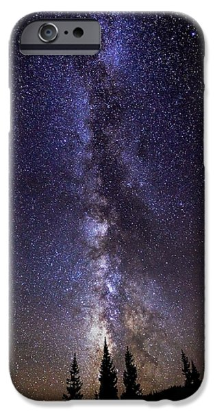 Dark Sky iPhone Cases - Red Mountain Milky Way iPhone Case by Darren  White