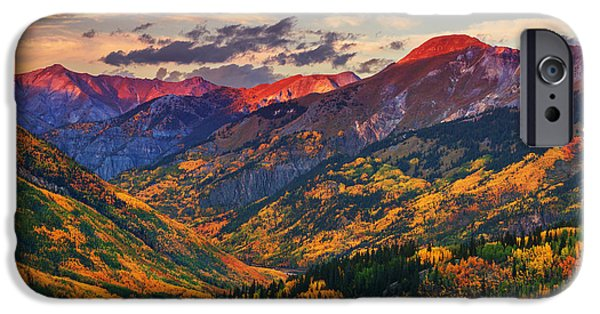 Sunset Framed Prints iPhone Cases - Red Mountain Pass Sunset iPhone Case by Darren  White
