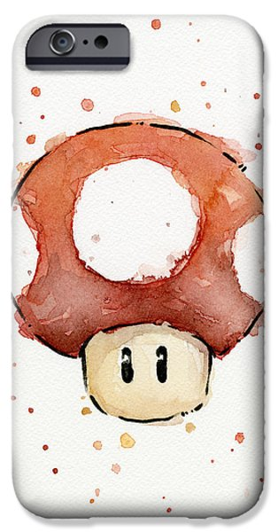 Watercolor Mixed Media iPhone Cases - Red Mushroom Watercolor iPhone Case by Olga Shvartsur