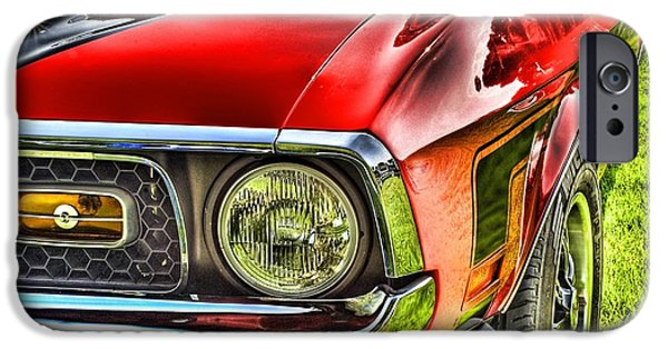 Transportation Pyrography iPhone Cases - Red Mustang iPhone Case by Meir  Jacob