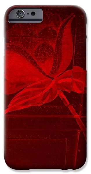 Botanic Illustration Digital Art iPhone Cases - Red Negative Wood Flower iPhone Case by Rob Hans