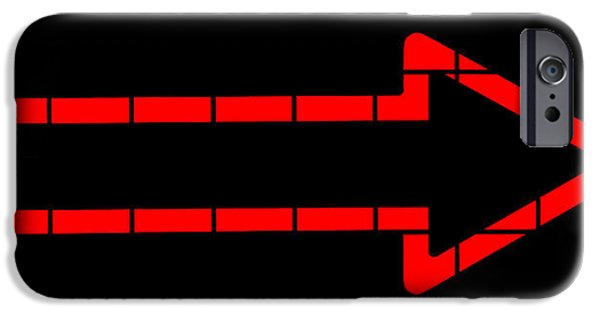 Advertise iPhone Cases - Red Neon Arrow  iPhone Case by Chay Bewley