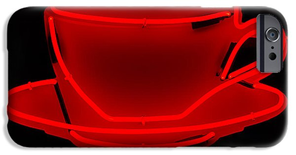 Advertise iPhone Cases - Red Neon Coffee Cup iPhone Case by Chay Bewley