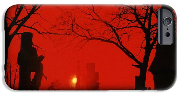 Night Angel iPhone Cases - Red Night iPhone Case by Gothicolors Donna Snyder