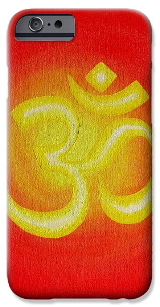 Breathing Paintings iPhone Cases - Red Om iPhone Case by Michelle Eshleman