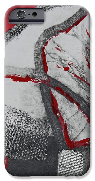 Printmaking iPhone Cases - Red on Black iPhone Case by Alexandra Jordankova