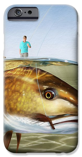 Redfish iPhone Cases - Red On The Fly iPhone Case by Kevin Putman