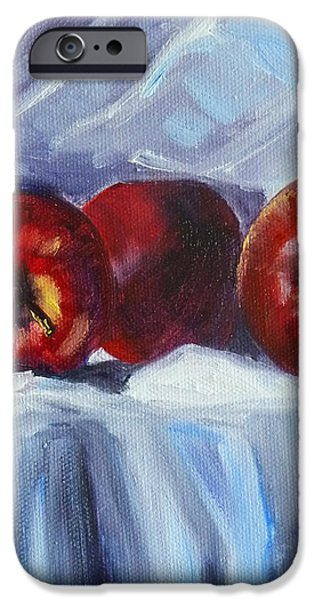 Business Paintings iPhone Cases - Red on White iPhone Case by Nancy Merkle