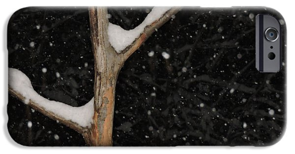 Snowy Night iPhone Cases - Red Ornament iPhone Case by Mim White