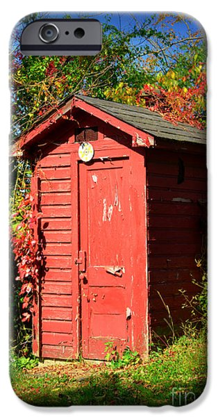 Red Outhouse iPhone Case by Paul Ward