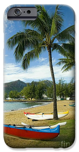 Green Canoe iPhone Cases - Red Outrigger Canoe in Kauai iPhone Case by David Smith