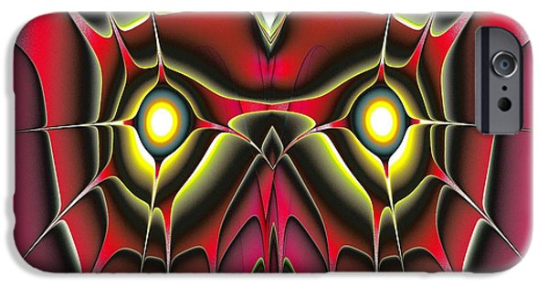 Abstracts iPhone Cases - Red Owl iPhone Case by Anastasiya Malakhova