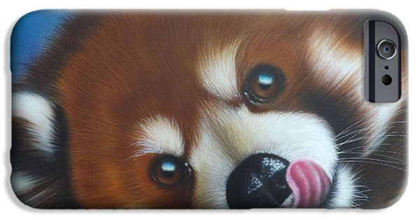 Lips iPhone Cases - Red Panda iPhone Case by Darren Robinson