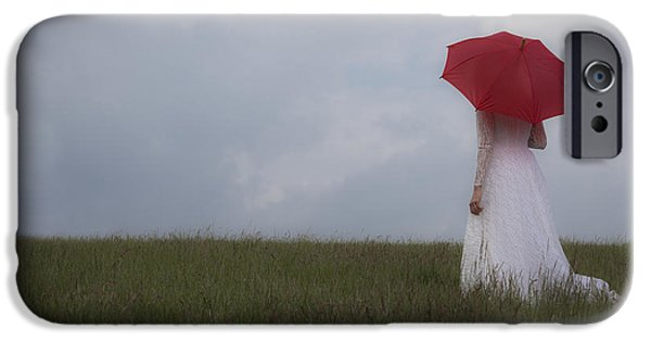 Innocence iPhone Cases - Red Parasol iPhone Case by Maria Heyens