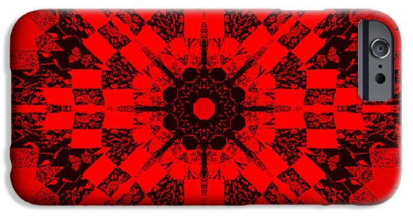 Black Tapestries - Textiles iPhone Cases - Red Patchwork Art iPhone Case by Barbara Griffin