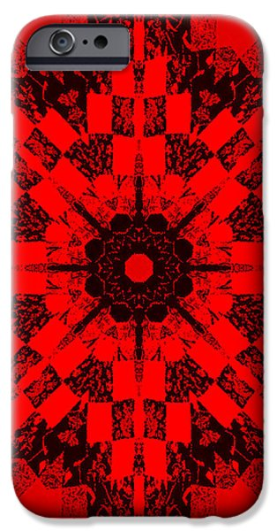 Red Patchwork Art iPhone Case by Barbara Griffin