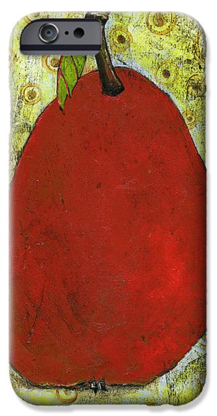 Pears iPhone Cases - Red Pear Circle Pattern Art iPhone Case by Blenda Studio