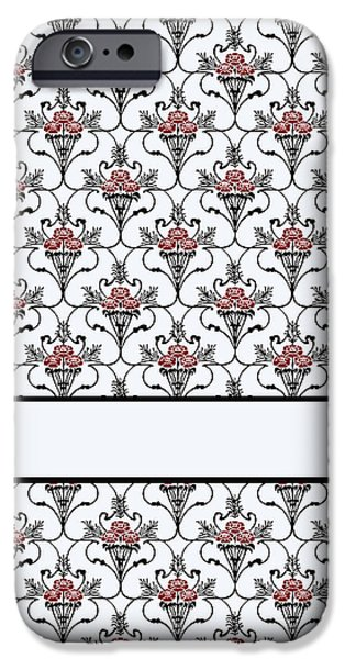 Fabric Mixed Media iPhone Cases - Red Peony Damask iPhone Case by Jenny Armitage