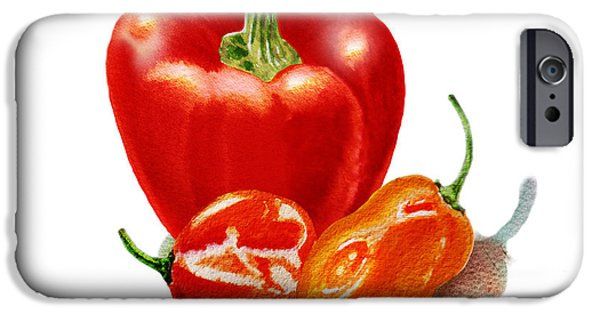 Hot Peppers iPhone Cases - Red Pepper With Hot Peppers iPhone Case by Irina Sztukowski