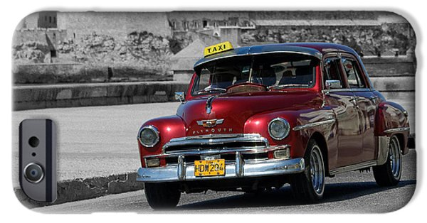 Old Cars iPhone Cases - Red Plymouth in Havana iPhone Case by Dawn Currie