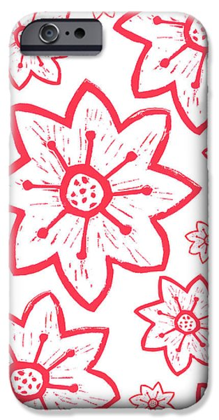 Printmaking Reliefs iPhone Cases - Red Poinsettia Pattern iPhone Case by Lynn-Marie Gildersleeve