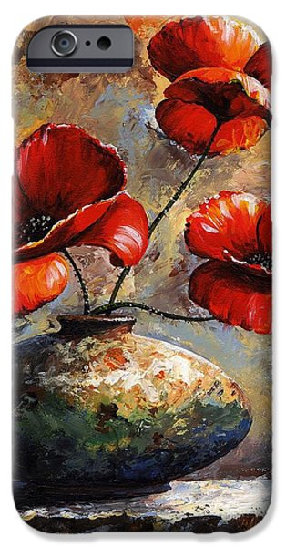 Artificial Flowers iPhone Cases - Red Poppies 02 iPhone Case by Emerico Imre Toth