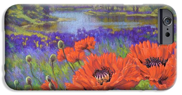 Florals Pastels iPhone Cases - Red Poppies 1 iPhone Case by Fiona Craig