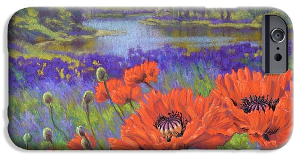 Recently Sold -  - Botanical Pastels iPhone Cases - Red Poppies 1 iPhone Case by Fiona Craig