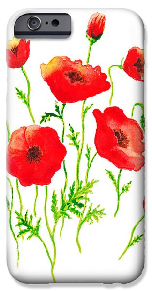 Galaxy Paintings iPhone Cases - Red Poppies Botanical Design iPhone Case by Irina Sztukowski