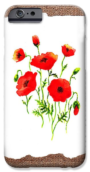 Hand-made iPhone Cases - Red Poppies Decorative Collage iPhone Case by Irina Sztukowski