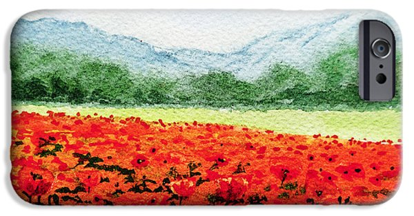 Blue Mountains Red iPhone Cases - Red Poppies Field iPhone Case by Irina Sztukowski