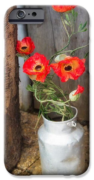 Artificial Flowers iPhone Cases - Red poppies flowers in milk churn  iPhone Case by Matthias Hauser