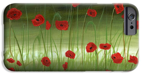 Italian Landscapes Paintings iPhone Cases - Red Poppies In The Woods iPhone Case by Cecilia  Brendel