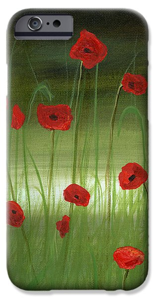 red poppies in the woods iPhone Case by Cecilia  Brendel