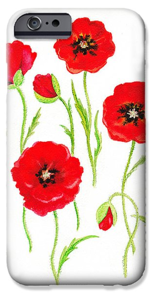 Galaxy Paintings iPhone Cases - Red Poppies iPhone Case by Irina Sztukowski