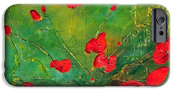 Red Abstract iPhone Cases - Red Poppies iPhone Case by Teresa Wegrzyn