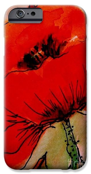 Fabulous Gifts iPhone Cases - Red Poppy iPhone Case by Angela  Gannicott