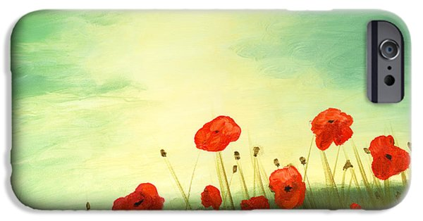 Cecilia iPhone Cases - Red poppy field with green sky iPhone Case by Cecilia  Brendel