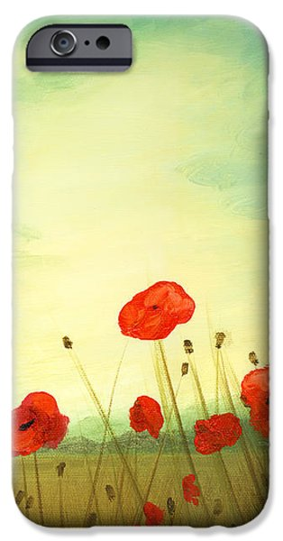 Red poppy field with green sky iPhone Case by Cecilia  Brendel