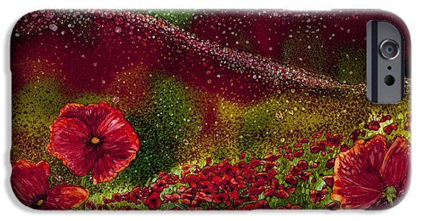 Recently Sold -  - Snowy Night iPhone Cases - Red Poppy Hills iPhone Case by Wendy Wilkins