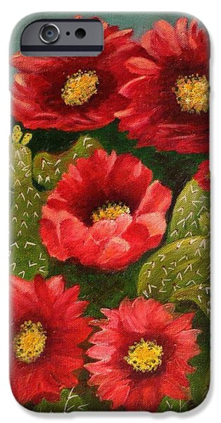 Pinion Paintings iPhone Cases - Red Prickley Pear Cactus Flower iPhone Case by Janis  Tafoya