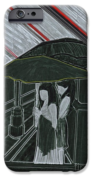 Rainy Day Drawings iPhone Cases - Red Rain iPhone Case by First Star Art
