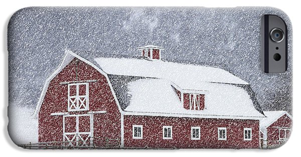 Red Barn In Winter iPhone Cases - Red Ranch Winter in Colorado iPhone Case by David Paul Davies