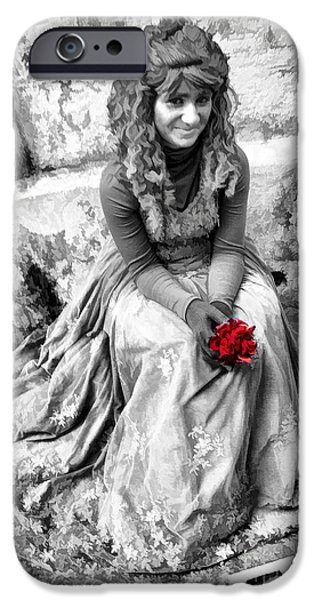 Young Photographs iPhone Cases - Red Red Rose in Black and White iPhone Case by David Smith