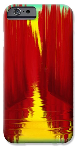 Abstract Digital Paintings iPhone Cases - Red Reed River iPhone Case by Anita Lewis