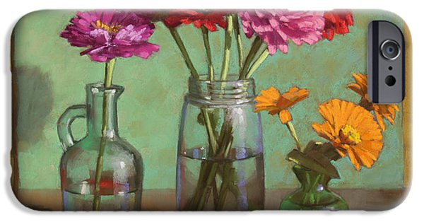 Still Life Pastels iPhone Cases - Red Ribbon and Zinnias iPhone Case by Sarah Blumenschein