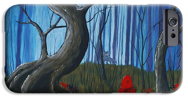 Time iPhone Cases - Red Riding Hood in the Forest iPhone Case by Anastasiya Malakhova