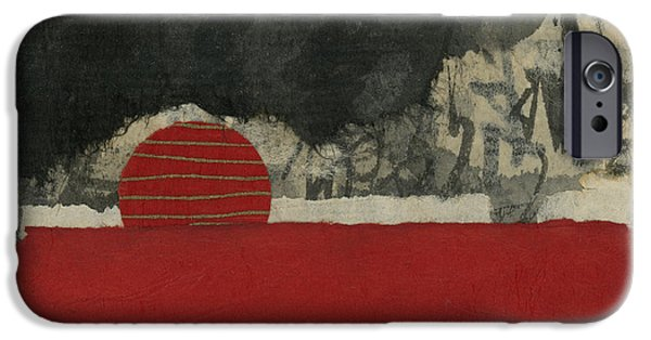 Torn Mixed Media iPhone Cases - Red Rising Sun iPhone Case by Carol Leigh