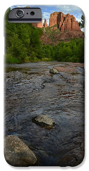 Red River Crossing under Cathedral Rock iPhone Case by Dave Dilli