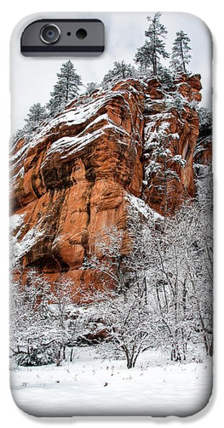 West Fork iPhone Cases - Red Rock and Snow iPhone Case by Larry Pollock